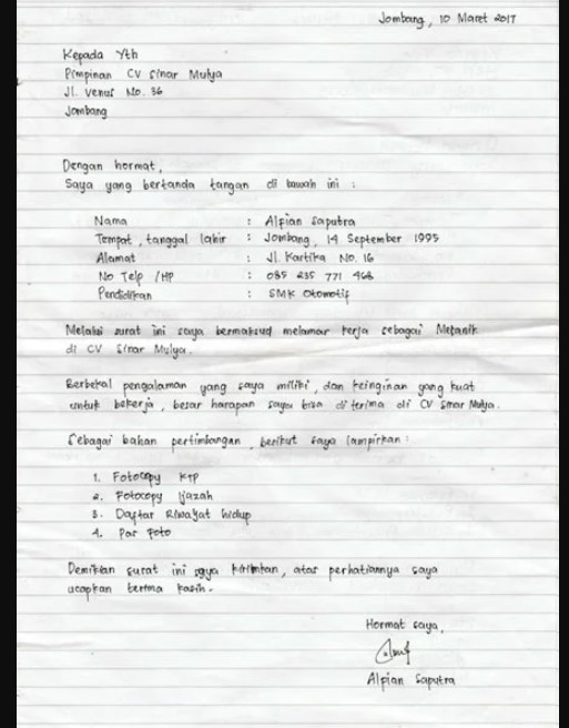 Contoh Surat Lamaran Kerja Tulis Tangan Pabrik 2021 Nusagates