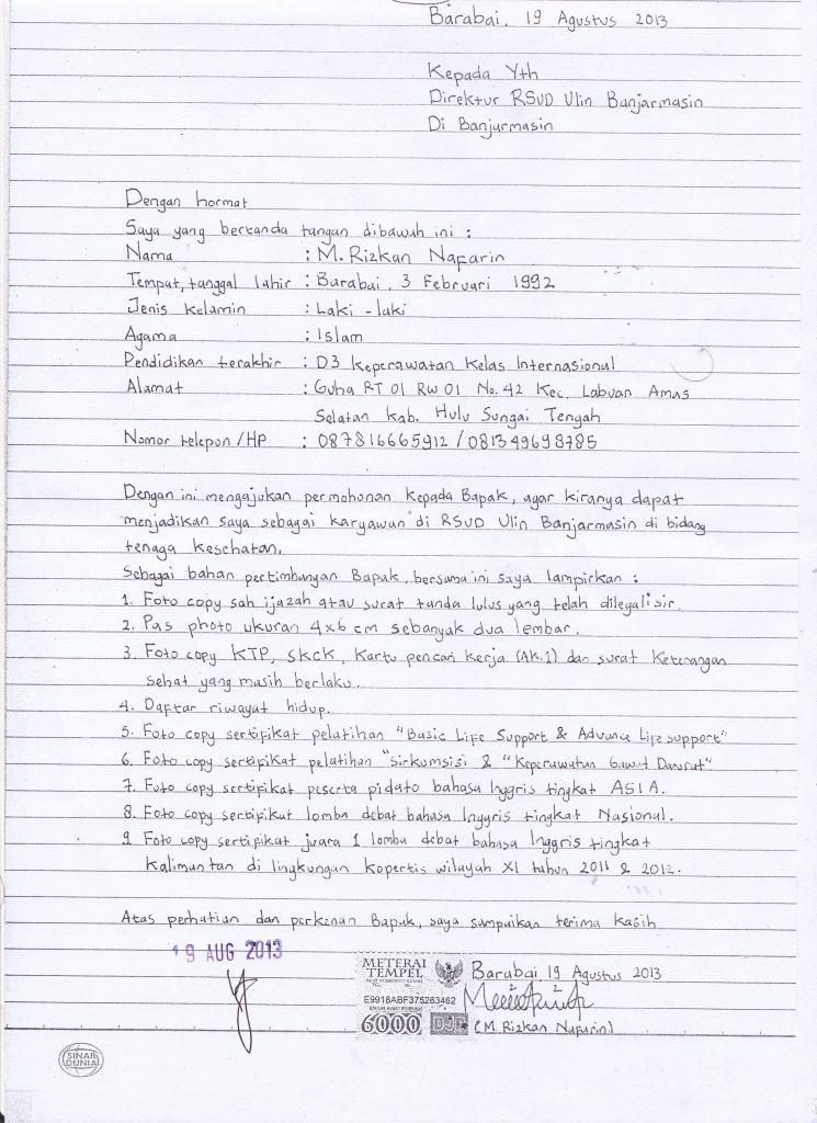 5 Contoh Surat Lamaran Kerja Tulisan Tangan Terbaru 2021 Mamikos Info