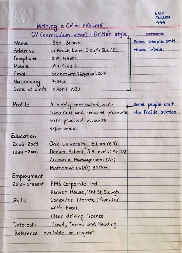 contoh cv tulisan tangan yang baik